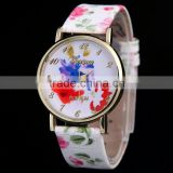 Customize OEM/ODM geneva rose flower leather quartz watch for women                                                                                                         Supplier's Choice