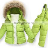 2016 Latest model of baby Winter wear down jacket and pant set