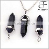Blue Sand Stone Crystal Hexagonal Prism Healing Point Chakra Pendant Bead For Necklace