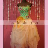 Appliqued bodice colorful short corset prom dress