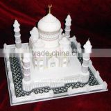 Lovely Handcrafted Marble Taj Mahal Replica, White Marble Taj Mahal Valentine Gift