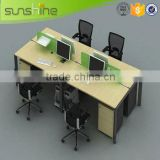 Sunshine furniture cheap 4 person office partition used wood laminate melamine finishing with mobile pedestal