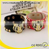 tiger snap press button leather bracelet with studs meatl button clasp