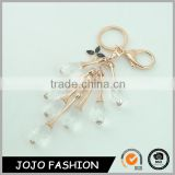 Wholesale fashion rose gold key ring beautiful woman rhinestone crystal key chains                                                                                                         Supplier's Choice
