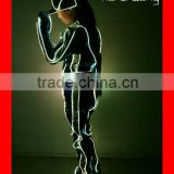 Programmed fiber optic tron dance costume with hat, LED suit costume