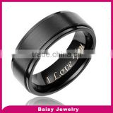 custom design 8MM Men's Black Titanium Ring Wedding Band jewelry