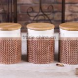 Brown Ceramic Tea Coffee Sugar Canisters Set with Bamboo Lid