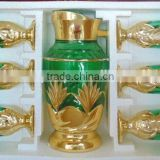 stock gold colored glass drinkware water jug set
