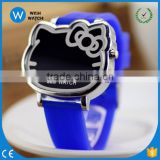 LED007/Silicone 12 Colors Jelly Design LED Digital Cute Cat Face Best Selling Colorful Students Children Jelly Watches