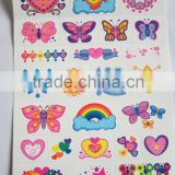 Custom cartoon water transfer temporary color tattoos for kids body art tattoos safe non-toxic color tattoo stickers factory