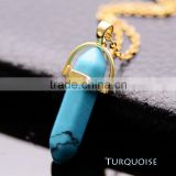 Unisex Lady Men Crystal Quartz Healing Point Chakra Natural Gem Stone Bead Gold Pendant Necklace