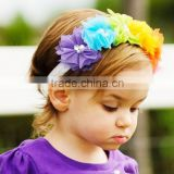 Fashion Cute Baby Girl Flowers Headband Lace Pearl Hairband Elastic Turban Rainbow Headdress Headwear Tiara Hair Accessories