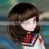 new arrival short silky straight dark brown doll wig with bangs/fringe
