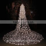 2015 wholesale long flowers cathedral wedding veils accessories 3 meters long and 1.5 meters width with comb LV12
