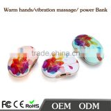 China electric product rechargeable class mini hand warmer power bank with vibration function