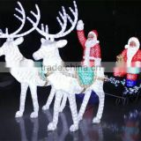 Led acrylic reindeer waterproof lighted decoration christmas outdoor lighted santa in sleigh