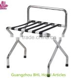 Hotel room metal luggage rack with back