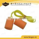 Promotion orange color CE certificate ear safety protection Rectangle PU foam earplugs with string