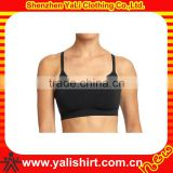 Custom cheap breathable quick dry black spaghett strap spandex skinny fitted women sport bra