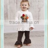Little girls boutique baby girl clothes unique brand name thanksgiving sets turkey embroidery tunic ruffle top and legging set