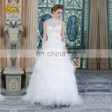 ED Illusion Button Bead Work Applique Ankle Length A-line Wedding Dress
