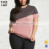 China suppliers bleached dip dye plus size women clothing cotton t shirt