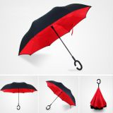 Full-Color Print Two Canopy Car Inverted Reversible Umbrella Upside Down Self-Standing