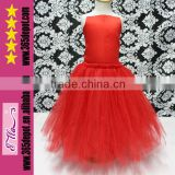 Wholesale Red Kids Elegant Evening Long Tutu Dress Birthday Party Dress For 1-7year Old