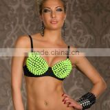 NEW LADIES SEXY SPIKE RIVET PUNK STUDDED WOMENS BRALET TOP GAGA STYLE BRA