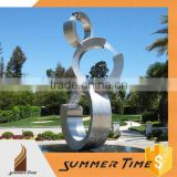stainless steeel abstract metal sculpture with water fountain