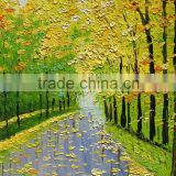 Beautiful autumn trees yellow green leaves of romantic street 100%handmade classic decoration oil painting in canvas