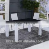 Black Glass White High Gloss Dining Table and 6 Chairs set