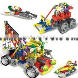 bd-6738001 children building block barreled plastic intelligent DIY building block 400pcs