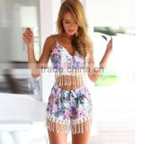 High fashion quality girls' cute sexy flower print bustier & short two pieces set