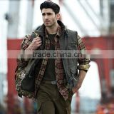 winter outdoor mens army color travel vest warm fleece line working vest with multi pockets