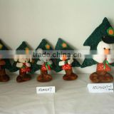 promotional customized stuffed plush chiristmas bear,dog,mouse,snowman toy with red handbag&christmas tree