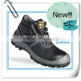 EN ISO 20345:2011 black genuine leather upper dual density PU outsole safety boots                                                                         Quality Choice