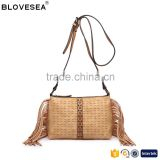 Camel Leisure style tassel and rivets detail design fashion women pu leather crossbody bag