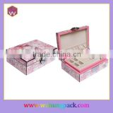 Paper Venner Wooden Jewellery Cosmetic Box & Pink Artistic Jewelry Accessories Packaging Case