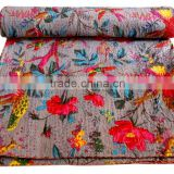 RTHKG-11 Floral Bird Printed Home Furnishing Bedspread Wholesaler Handmade Cotton Fabric Kantha Gudari Throw Manufacturers