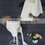 factory wholesale kids black cashmere rib knit scarf with raccoon fur pompoms