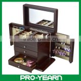 Wooden Mirrored Cosmetic Jewelry Box with Many Compartments and 4 Drawers and 2 Side Doors for Jewellery Storage and Display
