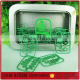 decoration promotional gifts green tree shape paper clips in square metal box printing customer logo
