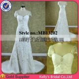 Good Price Appliqued Lace designer wedding gowns with cathedral length train