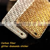 New arrival for iphone 6 carbon fiber textured glitter sticker bling bling sparkling sticker decal skin, China supplier