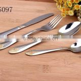 Brand Names Gold Plated Handle Stainless Steel Flatware Set - KX-S097