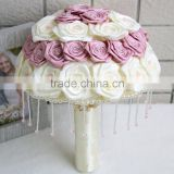Luxury Handmade Lovely pink white rose wedding bouquet,Rhinestone Beadings Satin Jewel Bridal Bouquet Bridesmaid Bouquet