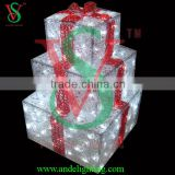 2016 3D new product 3 layer acrylic hanging empty lighted gift box led light for outdoor or indoor wedding decoration
