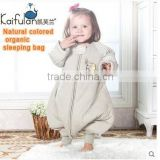 GOTS organic 100% cotton infant baby kids foot sleeping bag with Detachable sleeves for all Seasons