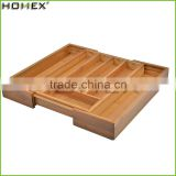 New Product Kitchen Cutlery Storage Holder Bamboo Expandable Cutlery Organizer/Homex_Factory